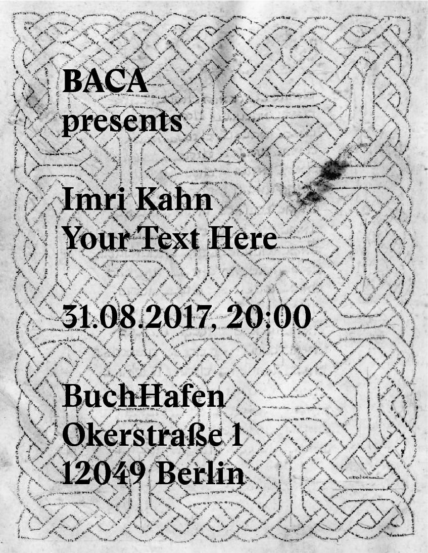 "31.08.2017 Book Launch: ""Your Text Here"" by Imri Kahn"